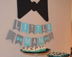 Little Man Baby Shower Banner Bow Tie Baby by SparklingConfetti