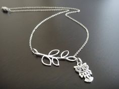 Antique Silver Lariat Style Owl Necklace by amula on Etsy, $12.50