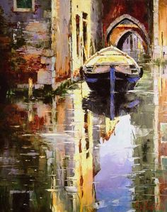 """Venice Boat"" - Original Oil on Canvas by Gleb Goloubetski Venice Painting, Boat Painting, Artist Painting, Watercolor Pictures, Watercolor Paintings, Landscape Art, Landscape Paintings, Art Expo, Boat Art"