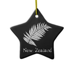 Shop New Zealand Silver Fern Ornament created by kiwisoutback. Silver Fern, Ferns, White Porcelain, New Zealand, Christmas Ornaments, Prints, Gold, How To Make, Design