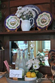 Decorating with Trays ~ Summer in the kitchen by Our Southern Home. Decorating inspriation for summer.