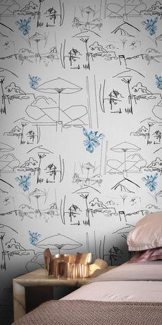 Flower Shower Wallpaper by Shiori Naruse Modern Floral Wallpaper, Flower Wallpaper, Floral Wallpapers, Beacon House, British Garden, Flower Shower, Abstract Flowers, Surface Pattern Design, Elle Decor