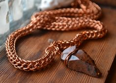 New to AthenasArmoury on Etsy: Wolf Hunter Chain Maille Necklace - Mahogany Obsidian Arrowhead Copper Full Persian Foxtail (63.00 USD)