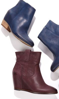 Genuine leather bootie with a hidden wedge for secret lift and an easy side zipper.