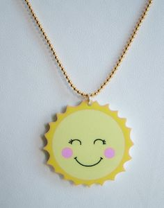 Solly the Sun Laser Cut Acrylic Necklace by Hoobynooworld on piiqshop!