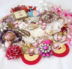 Purple and Pink Large Craft Jewelry Destash, broken vintage lot to repurpose