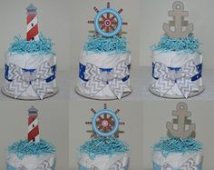 Set de 5 mini torta de pañal náutica / nivel por LittleOrchidStudio