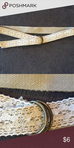 Belt bundle! CREAM LACE: 43 inches. Cream lace fabric on a canvas belt.   BLUE SUEDE: wrap belt. 100% suede. Very long.  Over 60 inches. BLACK FAUX LEATHER: 45 inches. Boutique Accessories Belts