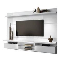 painel home theater suspenso livin branco uv hb móveis Modern Tv Cabinet, Modern Tv Wall Units, Tv Cabinet Design, Tv Wall Design, Lcd Unit Design, Painel Home, Tv Unit Furniture, Media Furniture, Living Room Tv Unit Designs