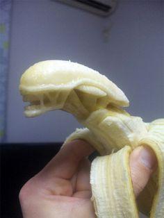 An alien xenomorph chestburster banana