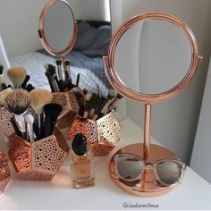Copper makeup mirror, copper candle holders used as makeup brush holders, all from Kmart