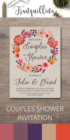 Couples Shower Invitation Printable, Floral Couples Shower  Invite, Bridal Shower, Wedding Planning, DIY Printable Invitations, Watercolor Floral Wreath Invitation, Boho Wedding Shower Ideas. More invitations at: tranquillina.etsy.com