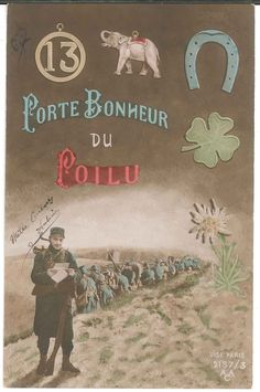 WW1 Franch Soldier Good Luck Postcard Hand Colored Tinted Porte Bonheur 1915