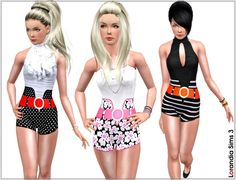 High waist short pants for your Sims 3 females. 4 recolorable areas, 3 color variations, custom cas and launcher thumbnails, everyday and swimwear.