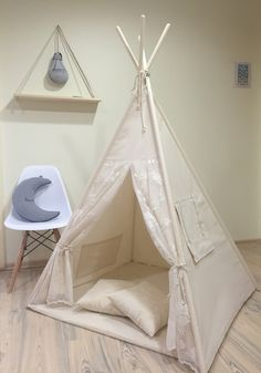 Home Accessories – Kids teepee play tent+poles+pillow – a unique product by letterlyy on DaWanda