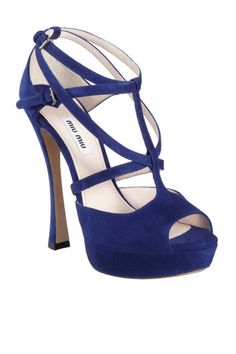 miu miu sandals with sculpted heel in navy blue #shoeporn