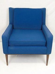 Mid Century Modern Upholstered Blue Chair