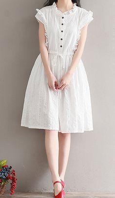 Women loose fitting over plus size white cotton dress button skirt fashion chic … – Plus Size Fashion Trendy Dresses, Women's Fashion Dresses, Skirt Fashion, Boho Fashion, Casual Dresses, Hijab Casual, Fashion Shoes, Fashion Trends, Trendy Fashion