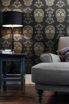Day of the Dead skull wallpaper by Emily Evans - £120 per roll. This is what I want for an accent wall in a bathroom, but really $182.75 a roll come on!
