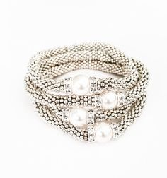 Silver Pearl Swarovski Crystal Daisy Stretch Stack Bracelets Layering Stackable White Free USA Shipping