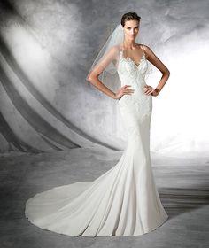 PLISA - Vestido de novia de crepe estilo sirena y detalles de pedrería