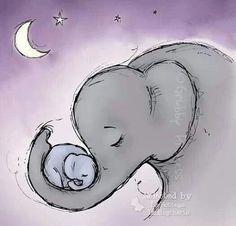 Idea for tattoo for mum Elephant Family, Elephant Love, Elephant Art, Elephant Nursery, All About Elephants, Elephants Never Forget, Baby Animals, Cute Animals, Animales