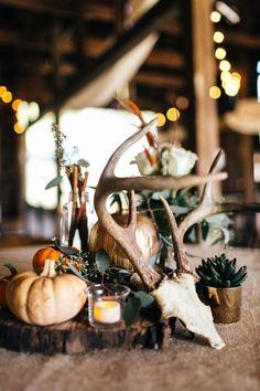 Deer antlers, pumpkins, rustic centerpiece // Erin Morrison Photography
