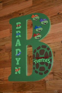 Teenage Mutant Ninja Turtles theme 18 inch by LettersbyTina Totally Brayden:) Ninja Turtle Party, Ninja Turtle Room, Ninja Turtle Birthday, Turtle Baby, Turtle Birthday Parties, 4th Birthday, Cowboy Birthday, Cowboy Party, Birthday Ideas