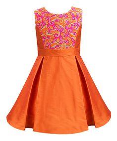 Love this Orange Bloom Paradise Inverted-Pleat Dress - Infant, Toddler & Girls on #zulily! #zulilyfinds