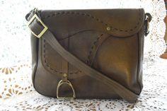 Vintage Leather Saddle Purse by dragonflyonbeacon on Etsy
