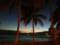Sunset on Waikiki beach , Hawaii