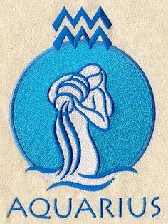 ZODIAC SIGN AQUARIUS Birth Date Symbol by EmbroideryExcellence