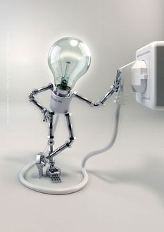 Illustrazione in 3D di una lampada elettrica (Titolo: Selfillumination 3; Autore: André Kutscherauer