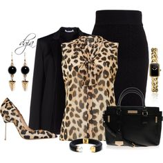 A fashion look from September 2014 featuring Lipsy blouses, T By Alexander Wang blazers y American Retro skirts. Browse and shop related looks. Dressy Outfits, Chic Outfits, Fall Outfits, Fashion Outfits, Mode Chic, Mode Style, Business Outfits, Business Fashion, Diva Fashion