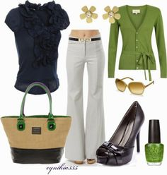 Spring Outfits | Nautical Twist  Wal G top, V-Neck Cardigan, BECKLEY BY MELISSA pants, shoes, Sonia By Sonia Rykiel bag, DKNY Sunglasses, OPI Nail Polish  by cynthia335