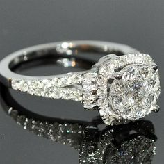1.2CTW Diamond Engagement Ring Bridal 2ct Solitaire look 14K White Gold Halo ~ 35 Stunning Pieces of Jewelry - Style Estate -