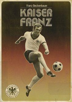 Franz Beckenbauer, Bayern München by Zoran Lucic Art Football, Soccer Art, Soccer Poster, Retro Football, World Football, Soccer World, Vintage Football, Football Fonts, Football Signs