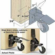 STEP DOWN CASTERS FOR WORKSHOP CABINETS