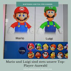 Mama schreibt 'ne Liste Nintendo Switch Spiele im Familientest RingFit Mario luigi Spielerauswahl Super Mario Party, Mario Kart 8, Mario Und Luigi, Nintendo Switch, Donkey Kong, Alter, Frost, Outdoor, Fictional Characters