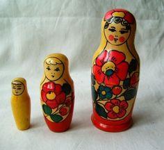 Set of 3 PC Vintage Russian Matryoshka Nesting Dolls USSR 1990s | eBay