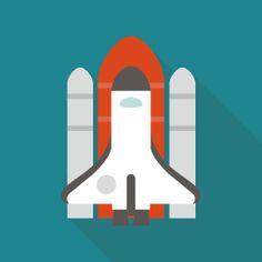 スペースシャトルのフラットデザインアイコン