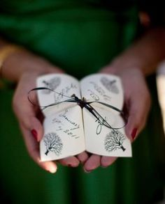 The Original Tied Cootie Catcher Programs by Alchemy Hour Designs! The cootie catcher programs are a truly unique wedding program design, and Unique Wedding Programs, Nontraditional Wedding, Wedding Stationary, Unique Weddings, Ceremony Programs, Creative Wedding Invitations, Origami Wedding Invitations, Perfect Wedding, Fall Wedding
