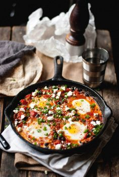 Food: Eleven Healthy Bean Recipes  (Breakfast: Baked eggs with black beans (Southern style) Via The Gouda Life)