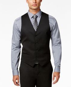 Alfani Men's Stretch Performance Solid Slim-Fit Vest, Created for Macy's - Black XS Khaki Shorts, Blue Jeans, Suit Vest, Dress Vest, Vest Men, Mens Sport Coat, Black Vest, Black Waistcoat, Men's Fashion Styles