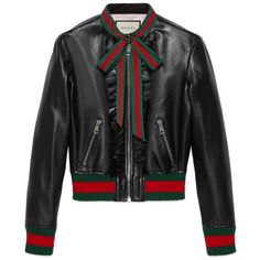 Gucci Ruffle Leather Bomber Jacket featuring polyvore, women's fashion, clothing, outerwear, jackets, black, gucci, ruffle leather jacket, bomber jacket, real leather jackets and genuine leather jackets