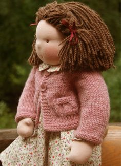 Waldorf Doll; pale pink and calico outfit; brown short hair with side braids