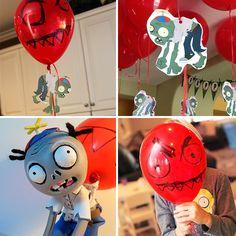 ideas y tips originales para fiestas Zombie Birthday Parties, Leo Birthday, Zombie Party, Plants Vs Zombies, Adornos Halloween, Halloween Diy, Zombie Decorations, Plant Zombie, Little Man Party