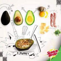 Mira esta exquisita receta para hoy martes. Sólo necesitas aguacates, huevo, queso y tocino o jamón. ¿Qué ingredientes usarías tu?