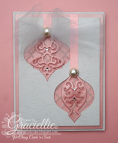 Graciellie Design - Girly Christmas, pink Christmas card, Ornaments, Window card, Classy Cards 'n Such