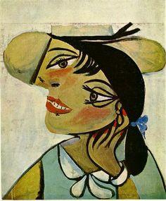 Portrait Of Woman In D`Hermine Pass (Olga) Pablo Picasso Original Title: Portrait de femme au col d`hermine (Olga) Date: 1923 Style: Surrealism Period: Neoclassicist & Surrealist Period Genre: portrait Media: oil, canvas Dimensions: 50 x 61 cm